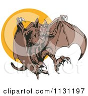 Clipart Of A Demonic Vampire Bat Attacking Over A Full Moon Royalty Free Vector Illustration by patrimonio