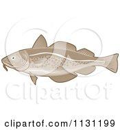 Clipart Of A Retro Atlantic Cod Fish Royalty Free Vector Illustration