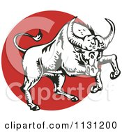 Clipart Of A Charging Bull In Black And White Over A Red Circle Royalty Free Vector Illustration