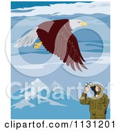 Clipart Of A Bird Watcher Viewing A Bald Eagle In Mountains Royalty Free Vector Illustration