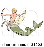 Clipart Of A Retro Fantasy Winged Horse Fish Man Shooting An Arrow Royalty Free Vector Illustration by patrimonio