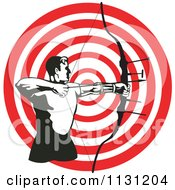 Clipart Of A Retro Archer Man Shooting An Arrow Over A Target Royalty Free Vector Illustration