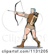 Clipart Of A Retro Archer Man Shooting An Arrow Royalty Free Vector Illustration