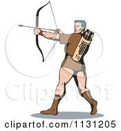 Retro Archer Man Shooting An Arrow