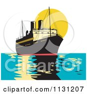 Clipart Of A Retro Freighter Ship At Sunset Royalty Free Vector Illustration