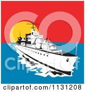 Retro Military Battleship With Big Guns At Sunset