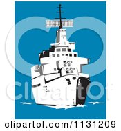 Clipart Of A Retro Black And White Military Battleship At Sea Royalty Free Vector Illustration by patrimonio