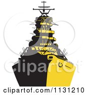 Clipart Of A Retro Military Battleship In Yellow And Black Royalty Free Vector Illustration