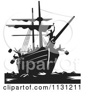 Clipart Of Retro Black And White Protestors Destroying Tea Boston Tea Party Royalty Free Vector Illustration by patrimonio