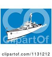 Retro Military Battleship With Big Guns At Sea