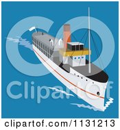 Clipart Of A Steam Ship At Sea Royalty Free Vector Illustration