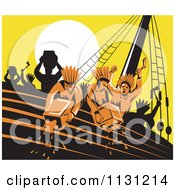 Clipart Of Retro Protestors Destroying Tea Boston Tea Party Royalty Free Vector Illustration