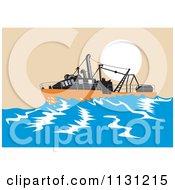 Clipart Of A Retro Sinking Fishing Boat At Sea Royalty Free Vector Illustration