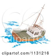 Clipart Of A Retro Fishing Boat At Sea Royalty Free Vector Illustration