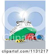 Clipart Of Big Rigs Driving Out From A Ship Royalty Free Vector Illustration