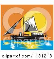 Clipart Of A Schooner Boat At Sunset Royalty Free Vector Illustration