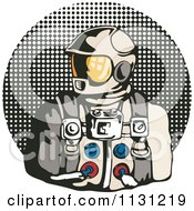 Retro Astronaut Over A Halftone Circle
