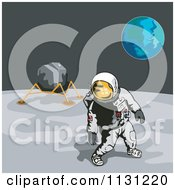 Clipart Of A Retro Astronaut And Lunar Module On The Moon With Earth In The Distance Royalty Free Vector Illustration