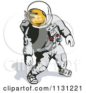 Clipart Of A Retro Astronaut Walking In A Space Suit Royalty Free Vector Illustration