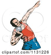 Clipart Of A Retro Male Shot Put Athlete Royalty Free Vector Illustration by patrimonio