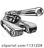 Clipart Of A Retro Black And White Cannon Military Artillery Tank Royalty Free Vector Illustration