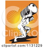 Poster, Art Print Of Retro Atlas Strong Man Carrying A Burden Oil Barrel Over Rays