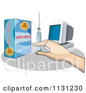 Clipart Of A Hand Holding A Syringe Of Anti Virus For A Computer Royalty Free Vector Illustration