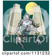 Clipart Of A Robot Chasing A Man In A City Royalty Free Vector Illustration by patrimonio