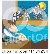 Clipart Of A Boy Thinking Of Robots As He Sets His Ray Gun On A Night Stand At Bedtime Royalty Free Vector Illustration