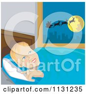 Clipart Of A Boy Thinking Of Santa As He Goes To Bed On Christmas Eve Royalty Free Vector Illustration