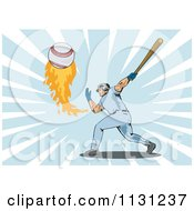 Clipart Of A Retro Male Baseball Athlete Hitting A Flaming Ball Over Rays Royalty Free Vector Illustration