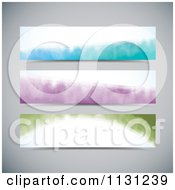 Clipart Of  Colorful Water Color Website Banners  Royalty Free Vector Illustration