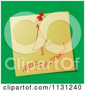 Clipart Of A  Handwritten Merry Christmas Note With A Tree On Green  Royalty Free Vector Illustration by MilsiArt