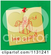Handwritten Happy Holidays Note With A Gift On Green