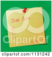 Handwritten Dear Santa Note On Green