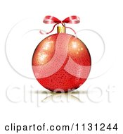 Clipart Of A  Red Christmas Bauble And Bow  Royalty Free Vector Illustration by MilsiArt