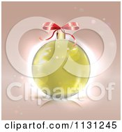 Clipart Of A  Gold Christmas Bauble And Bow  Royalty Free Vector Illustration by MilsiArt