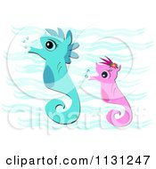 Cartoon Of Pink And Blue Seahorses Underwater Royalty Free Vector Clipart by bpearth