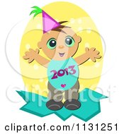 Cartoon Of A Happy New Year Baby With A 2013 Belly Royalty Free Vector Clipart by bpearth