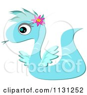 Cartoon Of A Blue Serpent Dragon Royalty Free Vector Clipart by bpearth