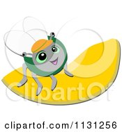 Cartoon Of A Happy Fly On A Cantalope Slice Royalty Free Vector Clipart by bpearth