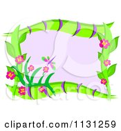 Floral Frame And Dragonfly With Purple Copyspace