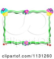 Floral Cupcake And Cherry Frame With Copyspace