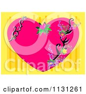 Pink Floral Heart With Swirls On Yellow