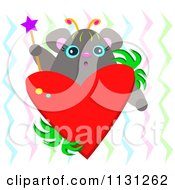 Cute Mouse With A Wand And Heart Over Zig Zags