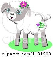 Cartoon Of A Cute Lamb With Flowers Royalty Free Vector Clipart