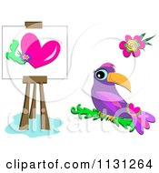 Purple Parrot Heart And Flower