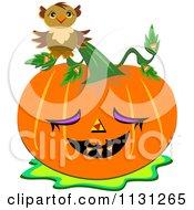 Cartoon Of A Halloween Owl On A Jackolantern Pumpkin Royalty Free Vector Clipart by bpearth