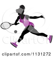 Clipart Of A Silhouetted Tennis Woman In A Purple Outfit Royalty Free Vector Illustration