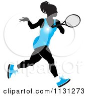 Clipart Of A Silhouetted Tennis Woman In A Blue Outfit Royalty Free Vector Illustration by Lal Perera